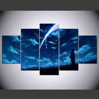 anime bilderrahmen großhandel-New Anime Ihr Name Leinwanddruck Malerei 5 Stück Kein rahmen Wandkunst Bilder home decor Room Poster Einzigartiges Geschenk