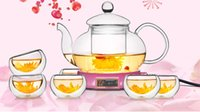 Wholesale Glass Teapot Double - 7pcs set New heat-resistant glass teapot set 1pc 600ml teapot+6pcs double cup special sale J1051-2