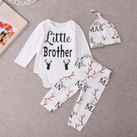 spring addition - Todder Clothes Boutique Boy Rompers Family New Addition Baby Boys Reindeer Long Sleeve Tops Romper Pants Legging Hat Outfits Clothing Set
