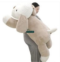 Wholesale large stuffed toy dogs - Dorimytrader New Funny Large 130cm Soft Cartoon Dog Plush Toy 51'' Big Stuffed lying Animal Dogs Pillow Doll Baby Present DY60652