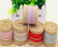 2Meter / Pcs Width 5cm Jute Burlap Rolls Hessian Ribbon Com Lace Vintage Rustic Wedding Decoration DIY Ornament Burlap Wedding Favor WQ24