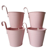 Wholesale vintage green planter resale online - pink color Metal Planter pot garden Hanging Planter Round wall planter vintage wall Hanging balcony bonsai