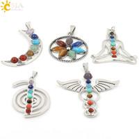 Wholesale Health Boys - CSJA Chakras Natural Stone Pendant Angel Wings Health Amulet Fashion 7 Reiki Yoga Jewelry Necklace Pendants Boy Girl Gifts Mix Charms E015