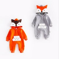Wholesale Girl Korean Winter Hat - Korean styles new arrivals fall baby kids climbing romper 100% cotton fox hat long sleeve romper girl boy kids romper kids autumn rompers