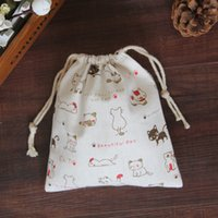 Wholesale Dress Women Cartoon Print - 2017 New Arrival Handmade Cotton Cloth Storage Bundle Drawstring Bags Tea Gift Bag White Kitten Print Bag Good Quality