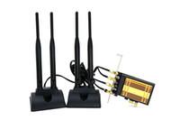 wifi pci e toptan satış-Toptan-masaüstü pc wifi pci-e adaptörü 867mbps 4 adet 6DB harici anten kablosuz ağ kartı BT4.0 802.11a / b / g / n / ac ısı emici ile