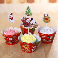 Wholesale Wooden Cupcake - 2017 New Fashion Christmas Cupcake Paper 12 Surrounding Cards and 12 Inserted Cards Set For Cupcake Wrapper Christmas Decorations