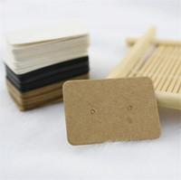 ganchos de exhibición de joyas al por mayor-2.5 * 3.5 cm Kraft Paper Stud Earrings Tag Tarjeta de Presentación de la Joyería Pendiente Al Por Menor Hang Tag Etiqueta Hooks Cartón Etiquetas de Precio
