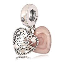 Wholesale Making Family - Authentic 925 Silver Beads Love Makes A Family Dangle Charm, Pink Enamel & Clear CZ For European Bracelet Bangle Diy Jewelry Gift