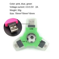Wholesale Usb Car Adapter Colors - NEW Metal USB Type C Adapter Male to USB A Female Converter Adapter Banner car logo Rotation EDC Hand Spinner colors Fidget spinner CPA001