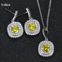 Wholesale Lemon Plate Set - 5 Colors Luxury Bride Jewelry Set Elegant White Gold Plated Round AAA CZ Necklace Set for Girls Women for Party Wedding