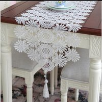 Wholesale Kitchen Chairs Wholesale - 40*120cm Jacquard Wedding Lace Table Runners Chair Sashes Table Cloths Home Garden Kitchen Bar Party Event Decoration Table Skirt