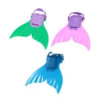 nadadeiras de mergulho venda por atacado-Ajustável Bonito Do Miúdo Crianças Monofin Sereia Flippers Mergulho Natação Barbatanas Scuba Swim Fin Foot Flippers Sapatos de Treinamento de Esportes de Água