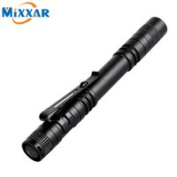 Wholesale Camping Lamps Led - LED Flashlight Outdoor Pocket Portable Torch Lamp 1 Mode 300LM Pen Light Waterproof Penlight with Pen Clip