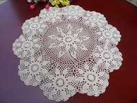 """Wholesale Table Runner Crochet Wholesale - Wholesale- Pastrol Style 26"""" Round Handmade Crochet Doily Floral Table Cloth Centerpiece Runner Doilies Chair Sofa Topper Decor"""