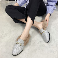 Wholesale Hair Real Rabbit - Mules Fur Slippers Ladies Home Slides Autumn Winter Warm Cozy Comfortable Real Rabbit Hair Shoes Close Toe Platform Creepers Loafers CR50