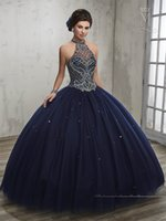 Wholesale Dance Charts - vestidos de 15 2017 Dark Navy Quinceanera Dresses Mary's with Halter Neck and Sexy Back Ball Gown Girls Dance Dress with Jacket