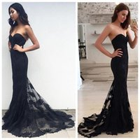 Wholesale Evening Wear Formal Dress - Sexy Black Lace Mermaid Dresses Evening Wear 2017 Strapless Open Back Bandage Celebrity Evening Gowns Formal Party Prom Dress Custom Made