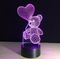 Wholesale Cartoon Bear Night Light Lamp - Christmas Gift For Children 3D Cute Bear Shaped Night light LED 7 Colors Change Touch Bedside Desk Lamp