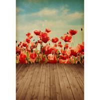 peinture en aérosol de vinyle bleu achat en gros de-Décors en vinyle pour la photographie Vintage ciel bleu nuages numériques peintes fleurs rouges enfants enfants photo fond marron Texture plancher en bois