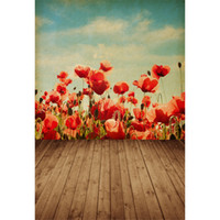 Vinyl-Backdrops für Fotografie Vintage Blue Sky Wolken Digital Painted Red Blumen Kinder Kinder Foto Hintergrund Brown Texture Wood Floor