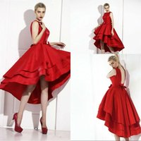 Wholesale Taffeta Jewel Tea - Little Red High Low Tea Length Short Cocktail Dresses 2017 New Tiered Satin Skirt Prom Dresses Sexy Backless Lace Up Evening Party Gowns
