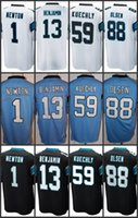 Wholesale Newton White - Men's Game Jersey 1 Cam Newton 13 Kelvin Benjamin #88 Greg Olsen 59 Luke Kuechly Blue Black White Jerseys