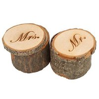 "Wholesale Wooden Ring Jewelry Box - Country Vintage ""Mr and Mrs"" Ring Box Wedding Valentines Wooden Ring Round Holder Jewelry Case Gifts Box 2pcs set"