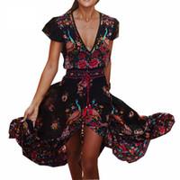 ingrosso abiti lunghi maxi da donna bohemien-2017 donne estive vestiti lunghi del fiore Retro Bohemian Maxi Dress con scollo a V stampato floreale Boho Beach Abiti per le signore Plus Size 4XL 5XL
