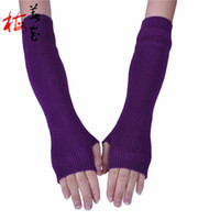 Wholesale Korean Wool Gloves - Wholesale- 40cm Arm Gloves Lady Winter Glove Korean Fashion Half Finger Cashmere Glove Vrouwen Lange Handschoenen Guanti Da Donna Lunghi