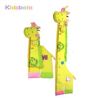 Wholesale wall stickers ring - Wholesale- Children Height Measure Soft Plush Toy 1.3 Meter Tall Giraffe Rattle Ring Bell Mobiles Kids Bedroom Wall Photo Sticker Baby Toys