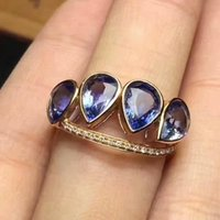 Wholesale natural blue tanzanite - Brand New S925 Sterling Silver Ring with 18KT Gold Plated Natural Blue Tanzanite 4*6mm Genuine Gemstone Fashion Jewelry for Women