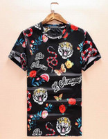 Wholesale Shirts Butterfly Sleeves - Season Sale Men T-shirts New Tiger Snake Butterfly Flower Printing Short Sleeve cotton T shirts Summer Tops Tees Plus Size M-XXXL 4XL