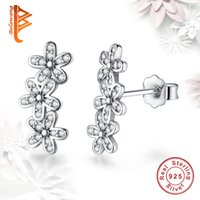 BELAWANG Mulheres Casamento Engagement Jóias 925 Sterling Silver Dazzling Daisies Flower Stud Earrings Clear CZ Love Earrings Wholesale