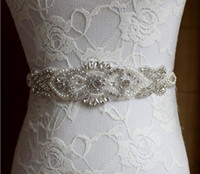 Wholesale Rhinestone Wedding Sashes - Silver Rhinestones Appliques Wedding Belt Clear Crystal 48Cm Length Sewing on Bridal Sashes Wedding Dresses Sashes Bridal Accessories T51