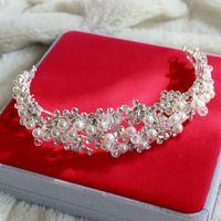saç elmas şeritler toptan satış-Muhteşem elmas çivili Kristal boncuk çiçek bandı Yüksek kaliteli Rhinestone Jewels hairband Bling Düğün gelin Saç Aksesuarları S1017