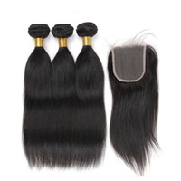 3 Bundles com cordão de encadernação Color 2 4 Dark Brown Silky Straight Hair Bundles Raw Virgin Indian Brazilian Peruvian Human Hair Extensions