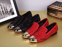 Black Red Rhinestone Crystal Diamond Oxfords Chaussures Man Flats Mocassins Round toe Mode Marque Italian Style Robe de mariée Chaussures Men Bateaux