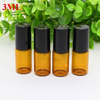 Wholesale Gold Essential Oil Bottle - Wholesale 3ml Amber Thick Glass Roll On Essential Oils Bottles Perfume Fragrances Vial + Stainless Steel Roller Ball with Black or Gold Cap