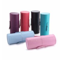 Wholesale Round Case Makeup Brush Set - New Empty Portable Makeup Brush Round Pen Holder Cosmetic Tool PU Leather Cup Container Solid 6 Colors Optional Case