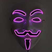 EL Wire LED MASK Vendetta Parte Moda V Cosplay Costume Guy Fawkes Máscara Anónima para la fiesta Halloween Scary Decoración ZA3639