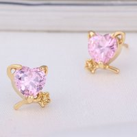 Wholesale Children Allergies - Kids Jewelry Anti-allergy 18K Yellow Gold Plated Flowers Cubic Zirconia Small Mini Heart Piercing Stud Earrings for Children Girls