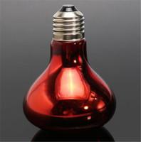 Wholesale Basking Heat Lamp - New Heat Basking Lamp 40W 60W 100W Spotlight Bulb Lamp Heating Light For Reptile Pet AC 220V Red Glass