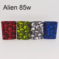 Wholesale E Cigar Case - DHL free vape mod silicone case with Skull pattern e cigar box mod ptotect skin for smok alien 85w 220wfree shipping