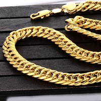 Wholesale Double Curb Chain - Fashion 24K 24ct Yellow Gold Filled Unisex Long Necklace 10mm Wide Double Curb Link Chain 23.6inches