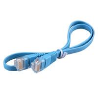 cabo de rede plana cat6 venda por atacado-Atacado- RJ45 CAT6 8P8C Plano Ethernet Patch Rede Lan Cabo 0.5m Cabo Azul
