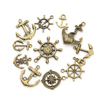 Wholesale Bronze Nautical - Wholesale- 20pcs lot Mixed Randomly Nautical Jewelry Antique Bronze Plated Compass Anchor Charm Pendant Hook Connectors for Jewelry Making