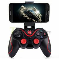 almohadilla de juegos para móviles al por mayor-T3 Bluetooth Gamepad para Android Phone Pad Smart Box PC Joystick inalámbrico Bluetooth Joypad Game Controller con soporte móvil