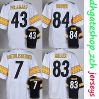 Wholesale Heath Football - Football Elite Jerseys Embroidery 43 Troy Polamalu #7 Roethlisberger Jerseys #84 Brown 83 Heath Miller Outdoor Sports Apparel Rugby Jerseys