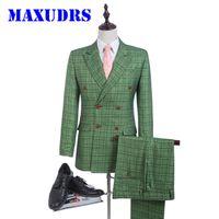 Wholesale Tuxedo Designs - New Design Green Glen Plaid Groom Tuxedos Tweed Suits Groomsman Suit Custom Made Man Suit Double Breasted Wedding suit 2 Psc